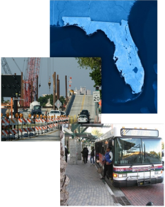 Florida Satellite view, construction, person boarding a bus