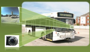 bus with photo inserts displaying side camera views